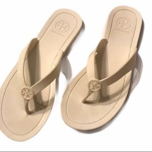 Tory Burch White Jelly Flip Flops